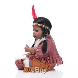 Handmade African American Baby Doll Black Silicone Vinyl Reborn Newborn Doll 20