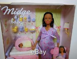 Happy Family Pregnant Midge African American Barbie & BabyNRFBNIB