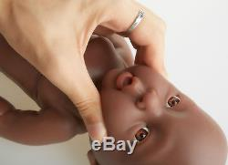 IVITA 16'' Lifelike Full Body Silicone African American Reborn Baby BOY Doll