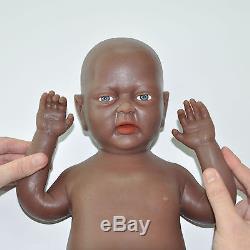 IVITA 18'' Black African American Silicone Reborn Baby Girl Teahing Doll Kid Toy