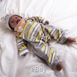 IVITA 18'' Black Real Silicone Lifelike African American Reborn Baby Boy Dolls