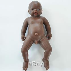 IVITA 18'' Black Silicone Reborn BOY African American Doll Take a Baby Bottle