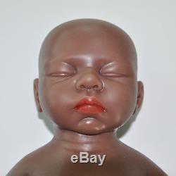 IVITA 18'' Lifelike Sleeping African American Silicone Reborn Baby GIRL Dolls