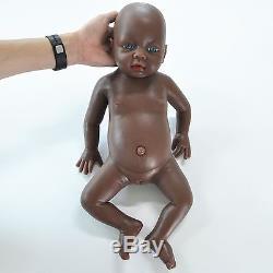 IVITA 20'' Black Silicone Reborn Baby Dolls African American Baby Girl Doll