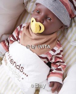 IVITA 20'' Reborn Baby Dolls Girl African American Real Reborn Baby take bottles