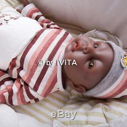 IVITA 20'' Reborn Baby Girl Silicone Reborn Baby African American Baby Doll