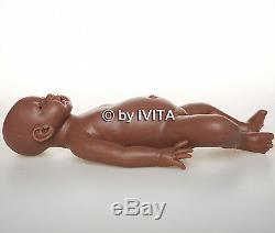 IVITA 20'' Reborn Baby Girl Silicone Reborn Baby African American Baby Doll