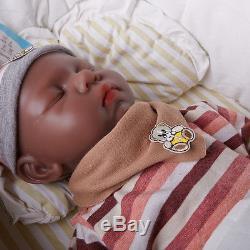 IVITA Lifelike 18'' African American Silicone Sleeping Reborn Baby GIRL Dolls