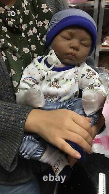 Indian Style Black Reborn Dolls African American Sleeping Boy Newborn Baby Dolls