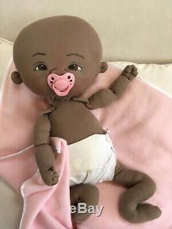 Jan Shackelford OOAK 2016 Diaper Derby Addie 19 African American Cloth Doll