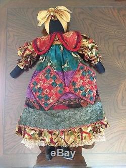 Juanita Robinson Signed Handcrafted African American Folk Art Doll 1995 EUC