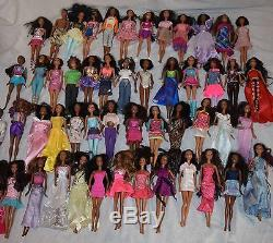 LARGE LOT OF 51 African American BARBIE DOLLS with Clothes, see photos
