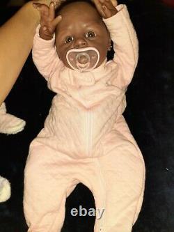 Lifelike Reborn Doll 16 Vinyl & Fabric Body Black Baby Girl w Accessories Lot