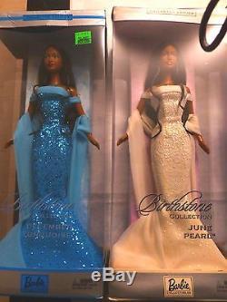 Lot Of 6 Birthstone Barbies All African / American Nib Free Shipping