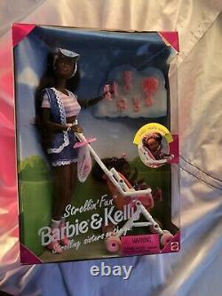Mattel 1995 Strollin Fun Barbie And Kelly African American 13743 NRFB HTF
