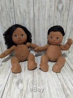 Mattel MY CHILD Dolls African American Boy Girl Black Hair Sailor & Vest 1985