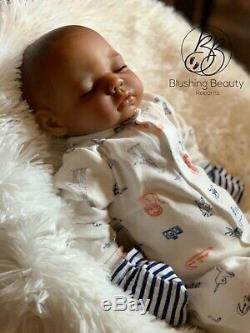 NEW AA African American black Boy Cuddle Baby Reborn Baby Doll 20 Closed Eyes