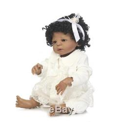 Newborn Baby Doll African American Silicone Vinyl Reborn Baby Dolls Black Hair