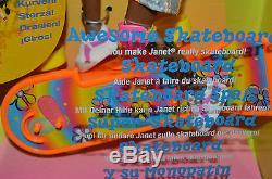 Nib-1999-awesome Skateboard Janet Aa-african American-helmet-int'l Barbie-stacie