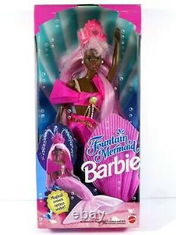 Nib Barbie Doll 1993 Fountain Mermaid Black Aa 10522