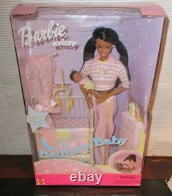 Nrfb Barbie Mattel 2000 Bedtime Baby Aa Raven Barbie & Krissy Plays Lullaby