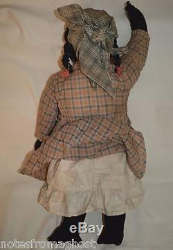 OLD BLACK / AFRICAN AMERICAN DOLL 30 TALL withSTRAW BLACK AMERICANA