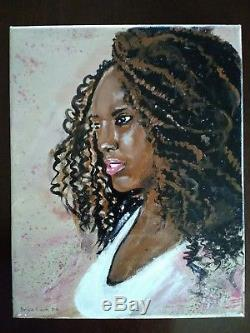 Original African American Woman Acrylic Painting 8 x 10 Stretched Canvas