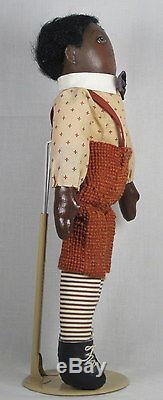 Pair of Cloth Dolls by Pris Arkoian Handpainted OOAK Black African American 15