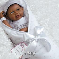 Paradise Galleries Black African American Newborn Doll FlexTouch Silicone Vinyl