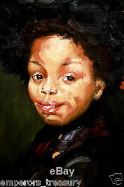 Portrait of African American Girl Oil Painting signed & style of Robert Henri