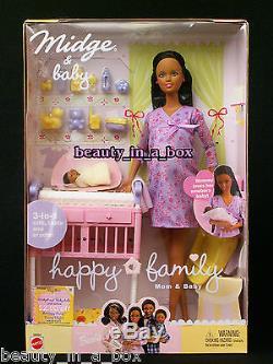 Pregnant Midge Barbie Doll Baby Happy Family Alan Ryan African American NRFB AA