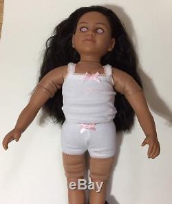 RARE My Twinn Doll 23 Pink Eyes Black long Hair African American