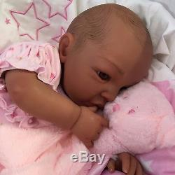 Reborn Baby Doll Girl Shyann 20 Size Mixed Race African American Real Realistic