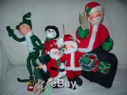Rare 14 Annalee Christmas Dolls Santa Claus Elfs Snowman Dolls African American