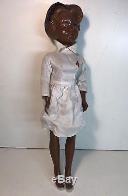 Rare African American Vintage Plastic 18 Red Cross Nurse Doll Mpf Hong Kong