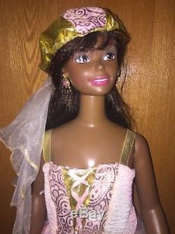Rare Mattel 1990s My Size Bride African American Black Barbie Doll Rapunzel 3ft