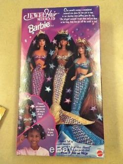 Rare Mattel Jewel Hair Mermaid Barbie African American 1995 NIB