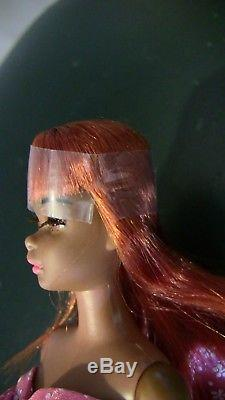Rare VTG Black AA African American Francie Barbie red hair REPRO dress Cello