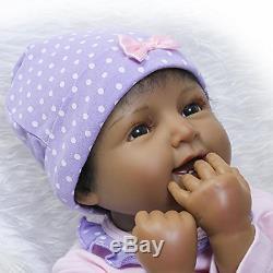 Realistic Lifelike Newborn African American Baby Girl Doll Soft Silicone Vinyl