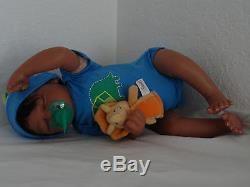 Reborn 19 African American/Ethnic/AA infant baby boy doll Marlow. HEART BEAT