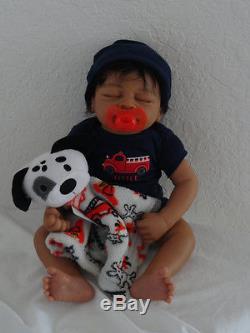 Reborn 19 African American/Ethnic/AA infant baby boy doll Marlow. HEART BEAT