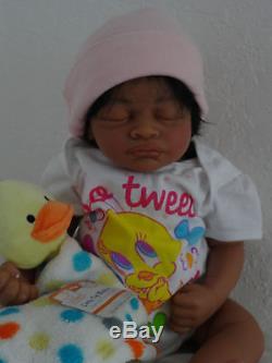 Reborn 19 African American/Ethnic/AA infant baby girl doll Aisha w. HEART BEAT
