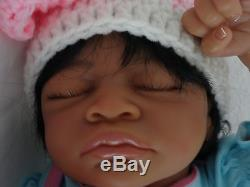 Reborn 19 African American/Ethnic/AA infant baby girl doll Aisha w. HEART BEAT