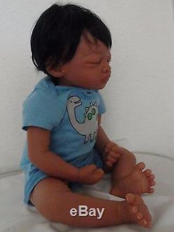 Reborn 19 African American Sleeping Newborn Baby Doll Marlo
