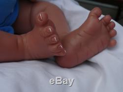 Reborn 19 African American Sleeping Newborn Baby Doll Marlo W. HEART BEAT