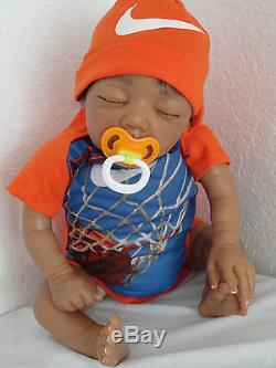 Reborn 21 AA Baby Boy Doll = Baylee Sculpt- sleeping African American Infant