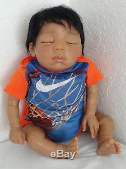 Reborn 21 AA Baby Boy Doll = Baylee Sculpt- sleeping African American Infant