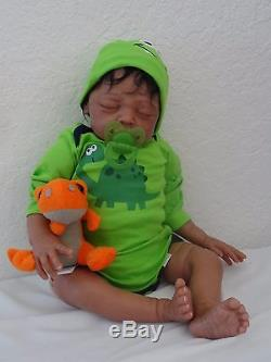 Reborn 21 African American/Ethnic/Biracial Baby Boy Doll Keon -w. Heart beat
