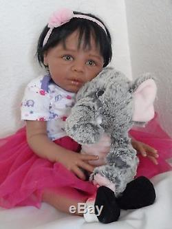 Reborn 21 African American/Ethnic/Biracial Baby Girl Doll Kayla (Eva Helland)