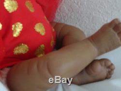 Reborn 21 African American toddler/baby Amiyah w. Christmas Rag Doll